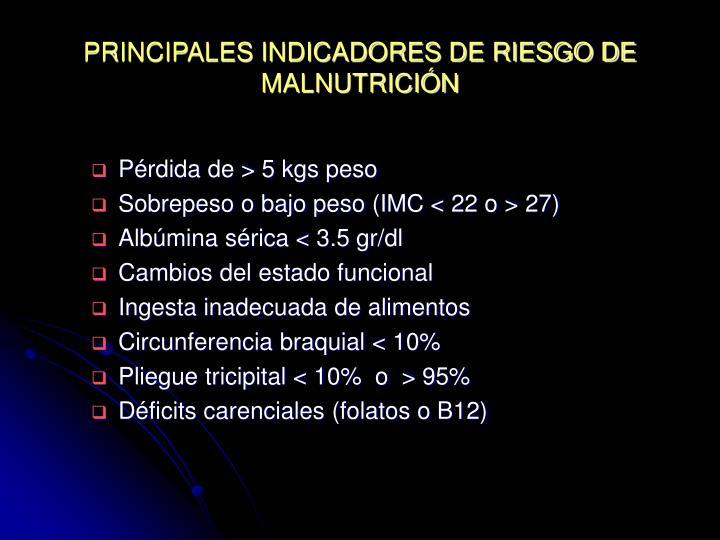 PRINCIPALES INDICADORES DE RIESGO DE MALNUTRICIÓN