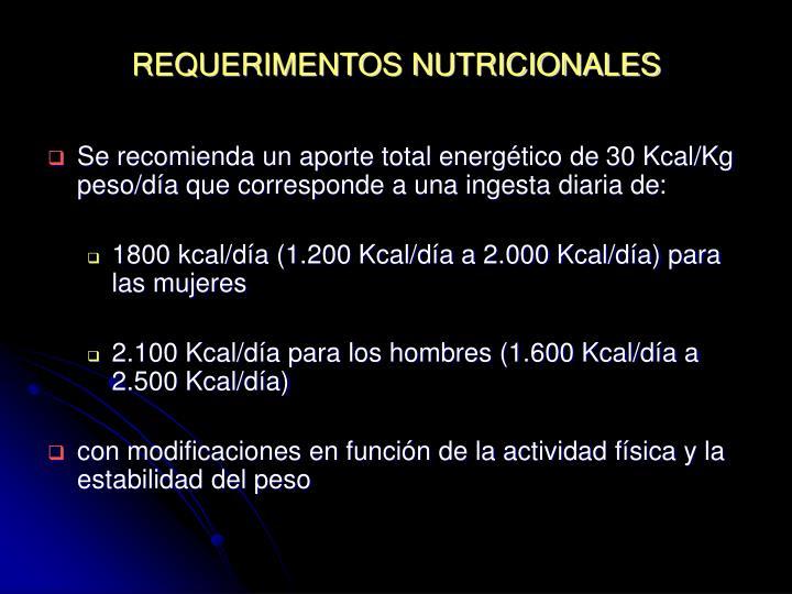 REQUERIMENTOS NUTRICIONALES