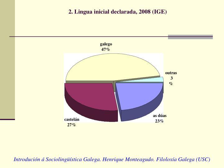 2. Lingua inicial declarada, 2008 (IGE)