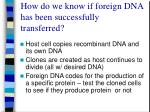 how do we know if foreign dna has been successfully transferred