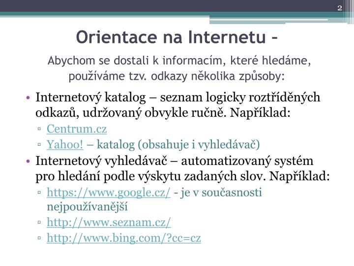 Orientace na Internetu –