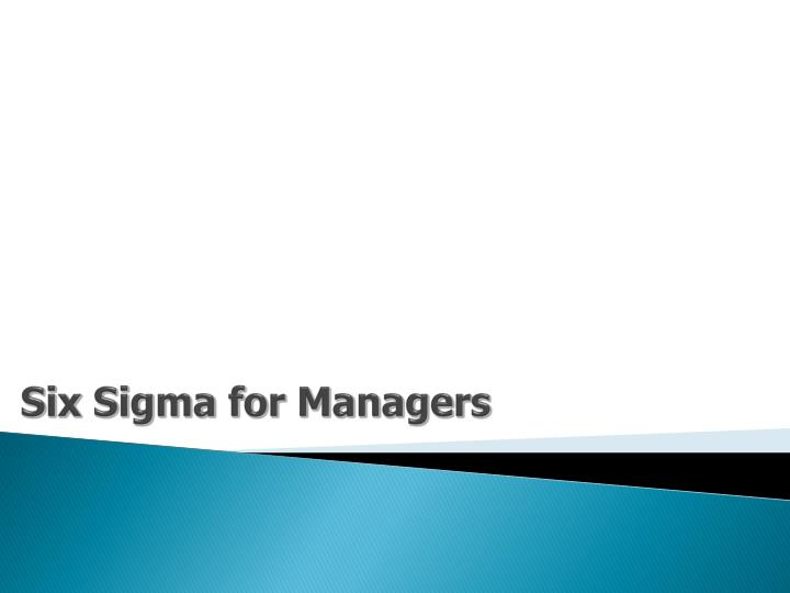 six sigma for managers n.