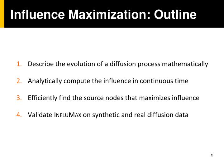 Influence Maximization: Outline