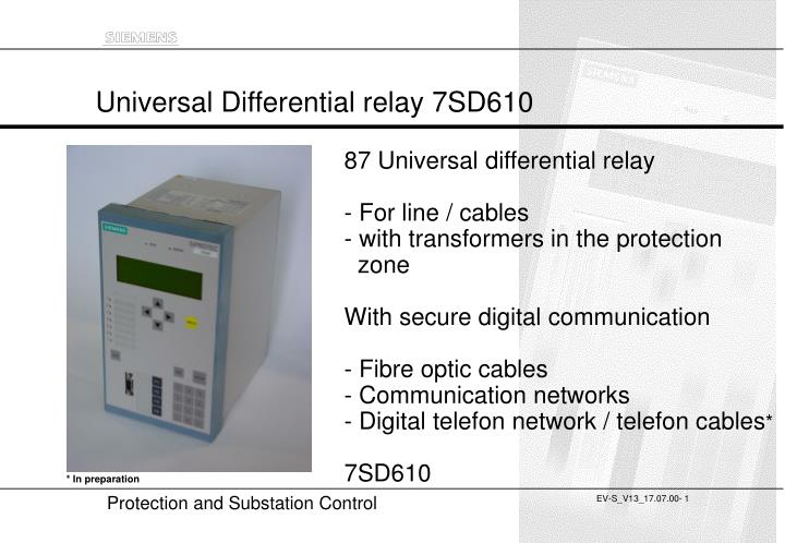 universal differential relay 7sd610 n.