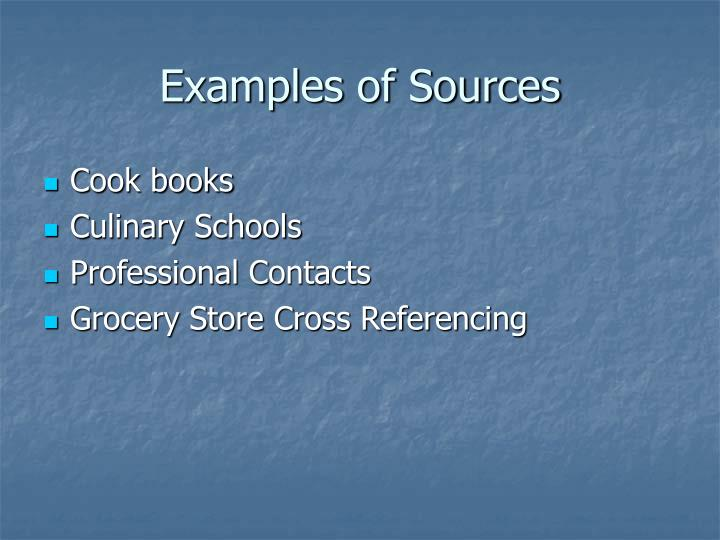 Examples of Sources