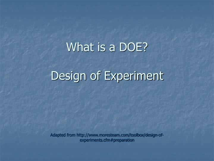 What is a doe design of experiment