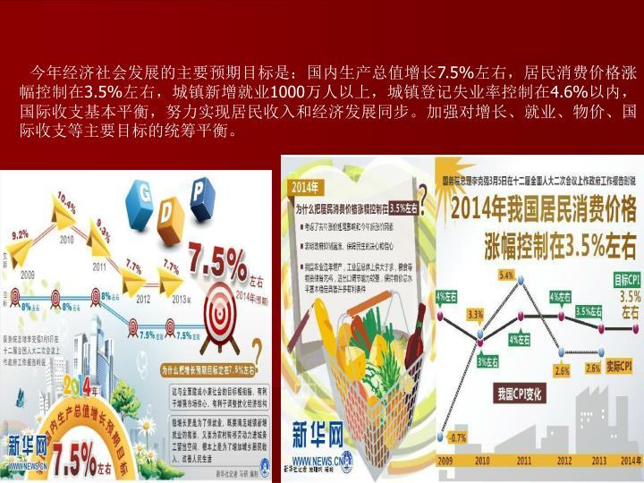 今年经济社会发展的主要预期目标是:国内生产总值增长
