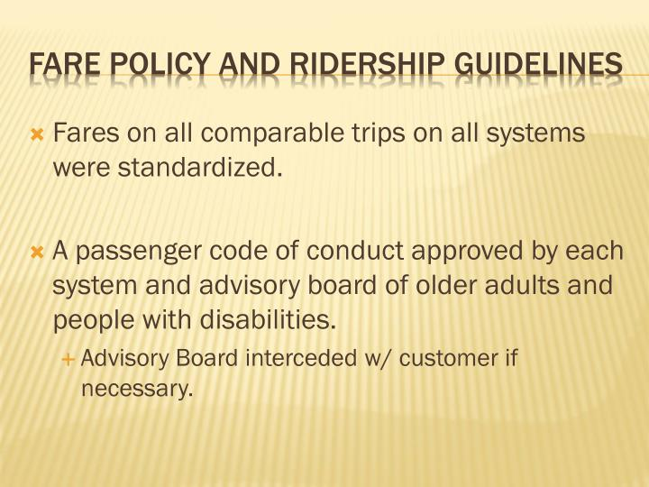 Fares on all comparable trips on all systems were standardized.