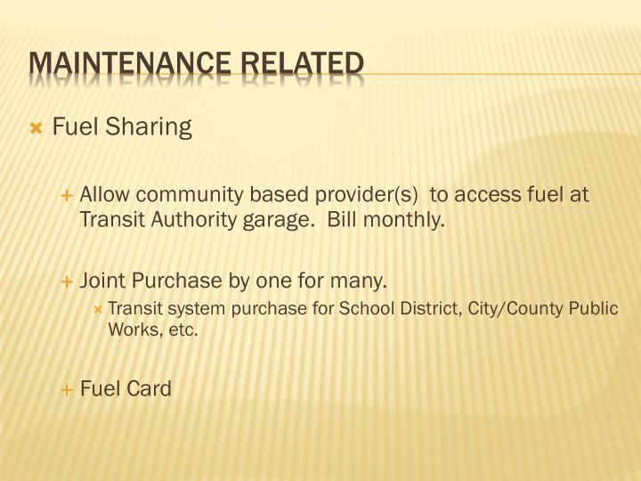 Fuel Sharing