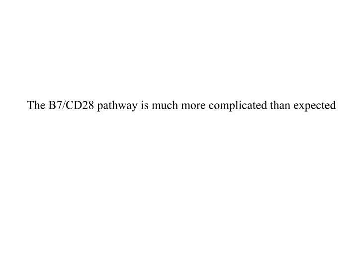 The B7/CD28 pathway is much more complicated than expected