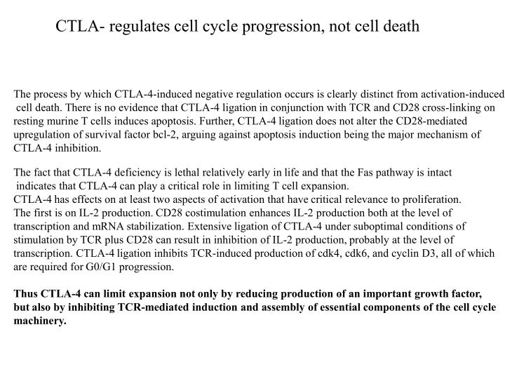 CTLA- regulates cell cycle progression, not cell death