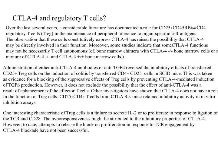 CTLA-4 and regulatory T cells?