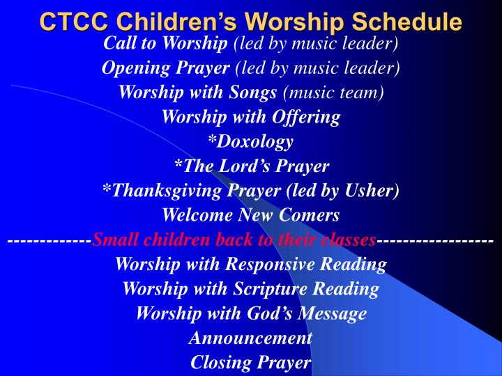CTCC Children's Worship Schedule