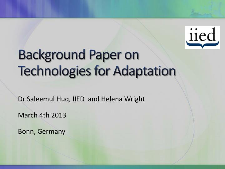 Background paper on technologies for adaptation