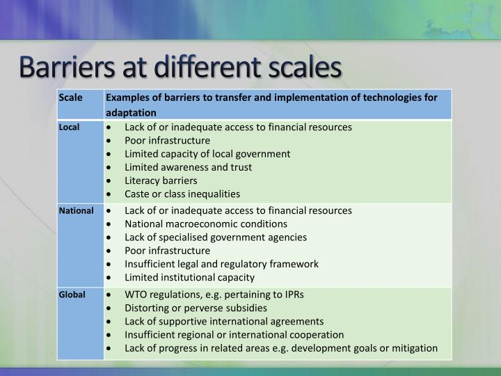 Barriers at different scales