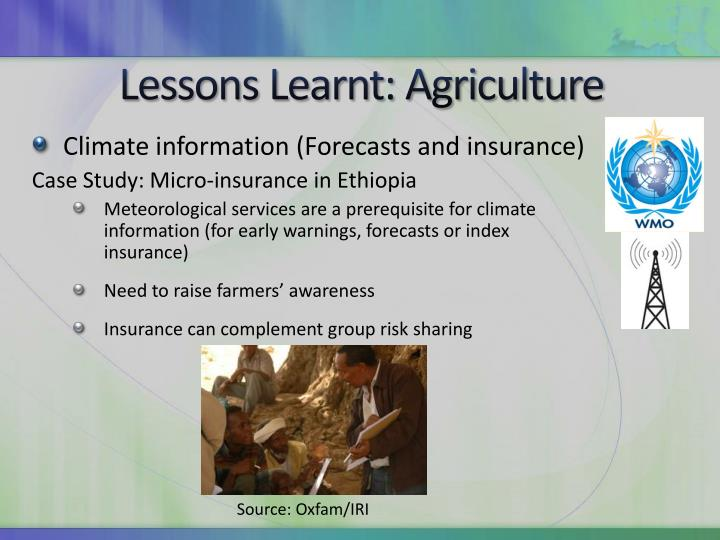 Lessons Learnt: Agriculture