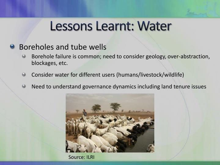 Lessons Learnt: Water