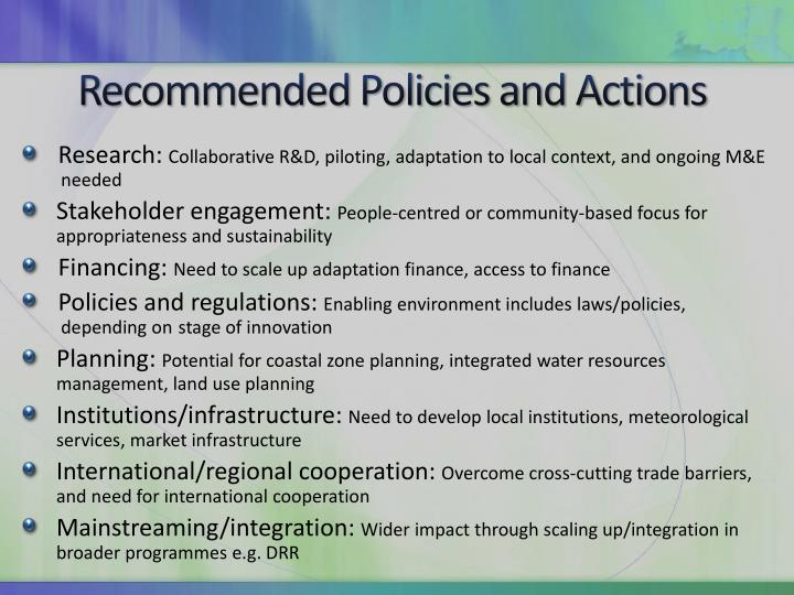 Recommended Policies and Actions