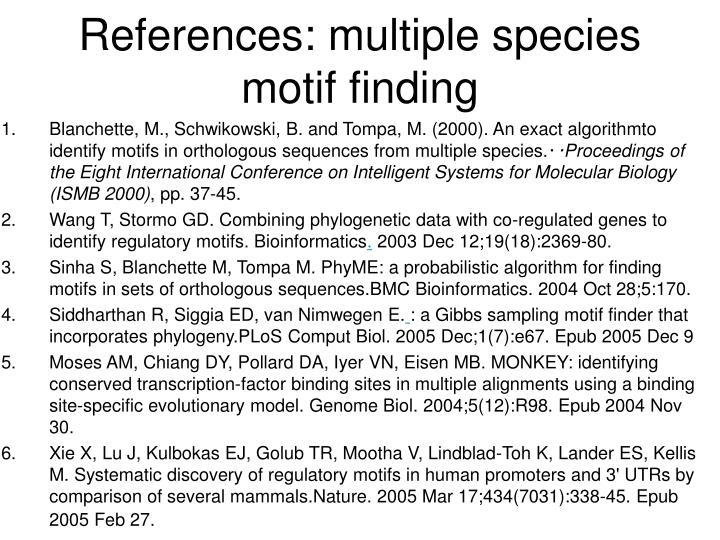References: multiple species motif finding