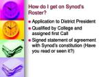 how do i get on synod s roster