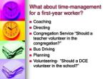what about time management for a first year worker