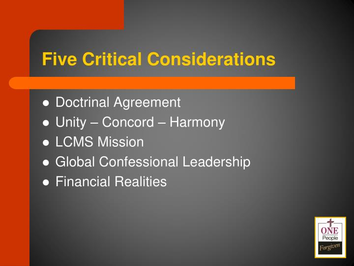 Five Critical Considerations