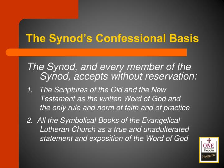The Synod's Confessional Basis