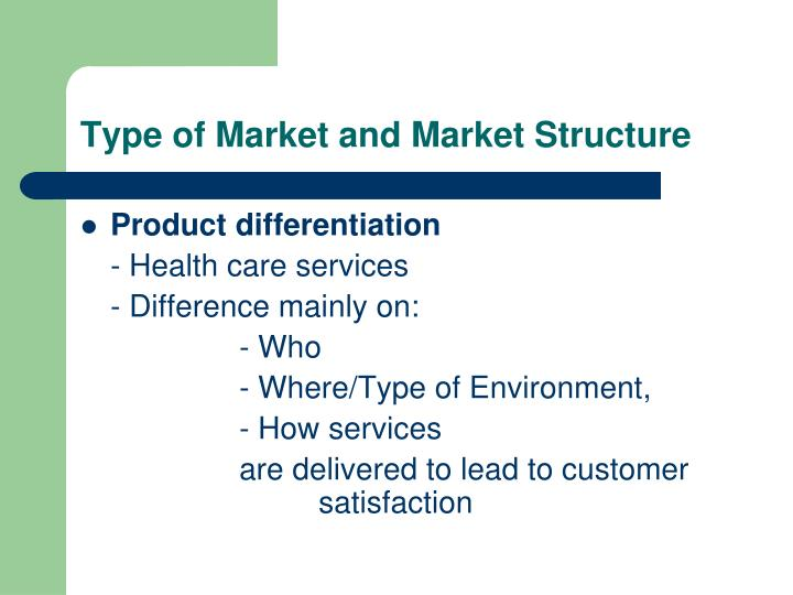 Type of Market and Market Structure
