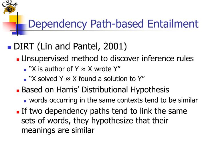 Dependency path based entailment