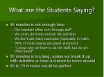 what are the students saying2