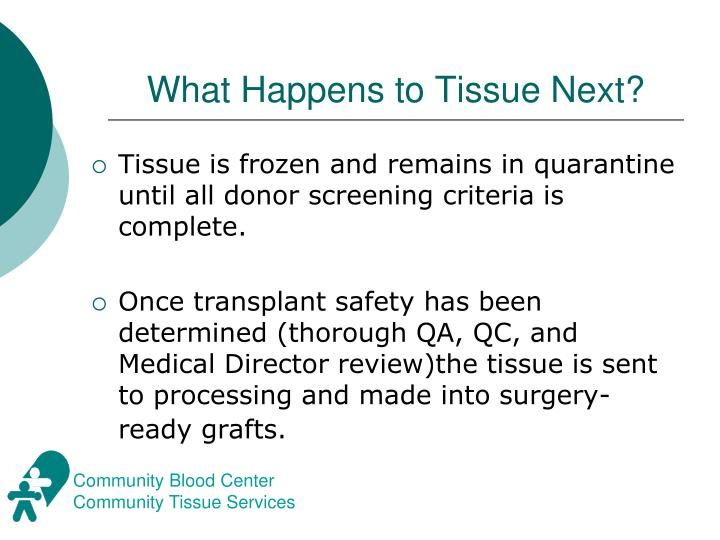 What Happens to Tissue Next?