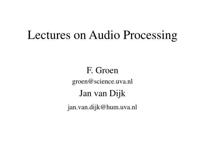 lectures on audio processing n.