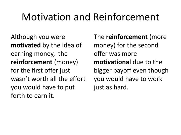 motivation and reinforcement on performance essay Reinforcement theory such as an excellent performance future reinforcement efforts can then be targeted to different behaviors with an expectation of.