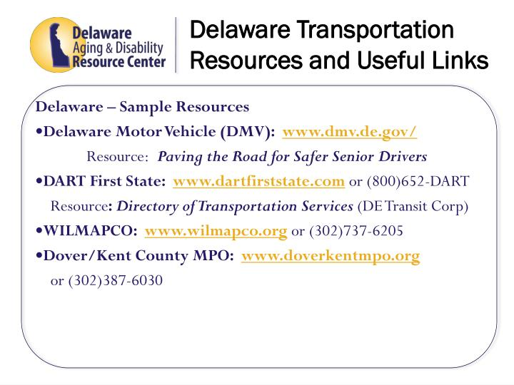 Delaware Transportation Resources and Useful Links