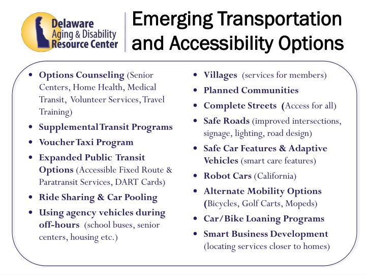 Emerging Transportation and Accessibility Options