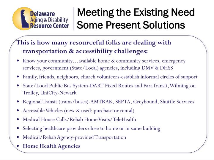 Meeting the Existing Need Some Present Solutions