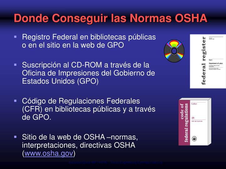 Donde Conseguir las Normas OSHA