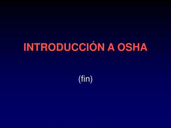 INTRODUCCIÓN A OSHA