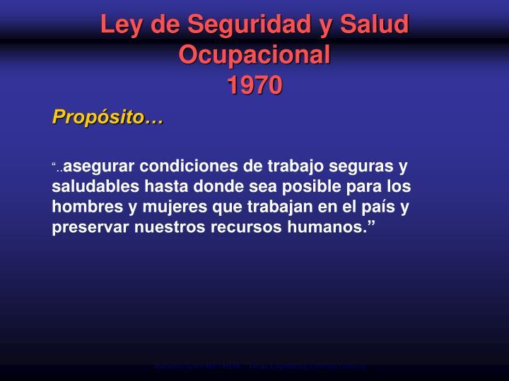 Ley de seguridad y salud ocupacional 1970