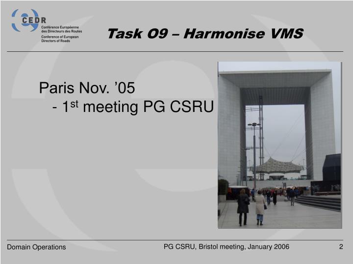 Task o9 harmonise vms1
