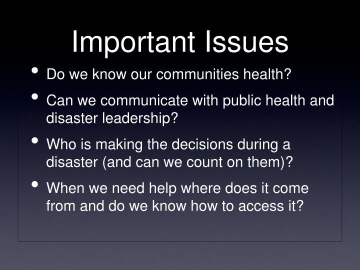 Do we know our communities health?