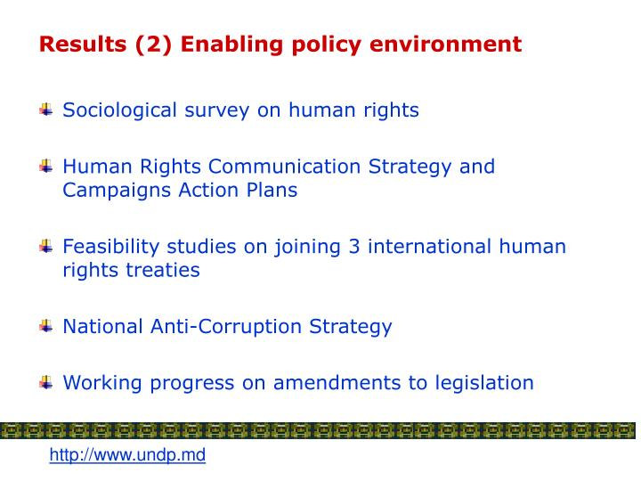 Results (2) Enabling policy environment