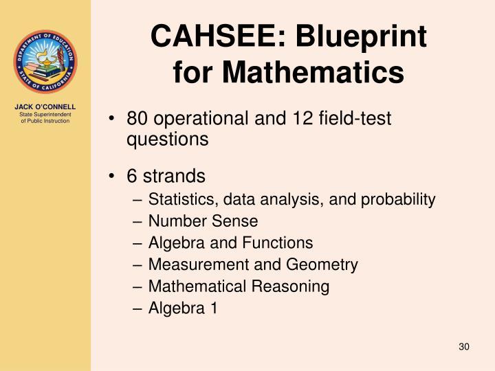 CAHSEE: Blueprint