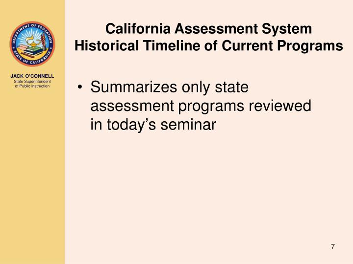 California Assessment System Historical Timeline of Current Programs