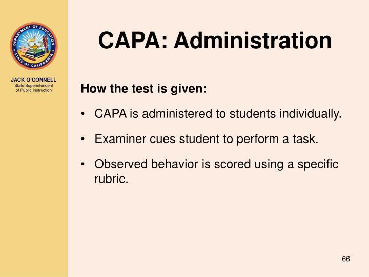 CAPA: Administration