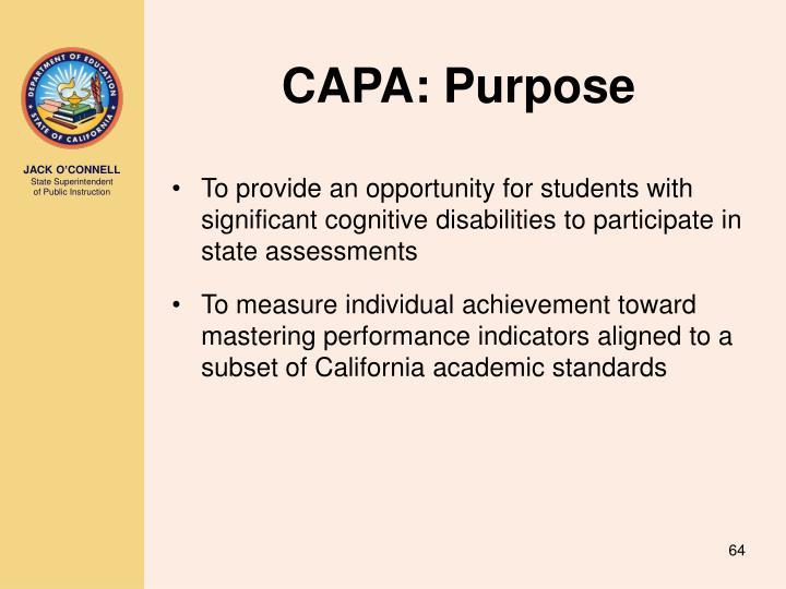 CAPA: Purpose