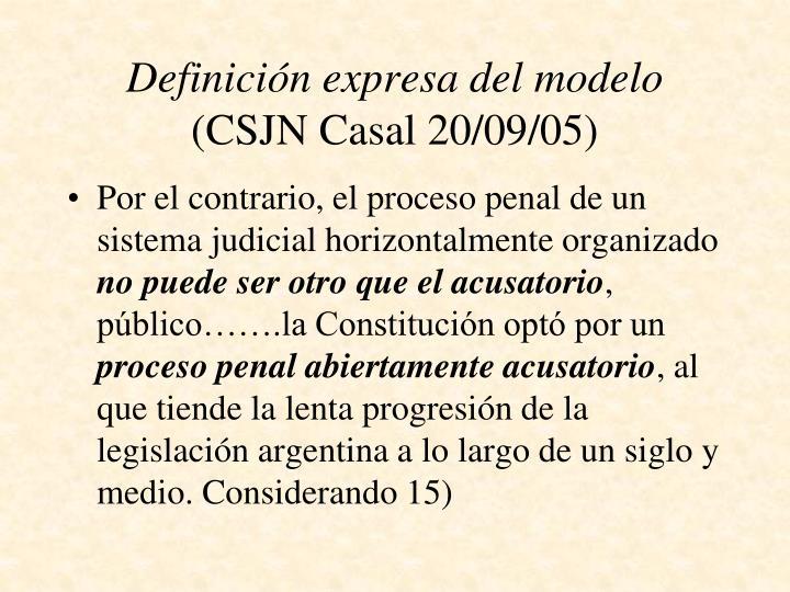 Definición expresa del modelo
