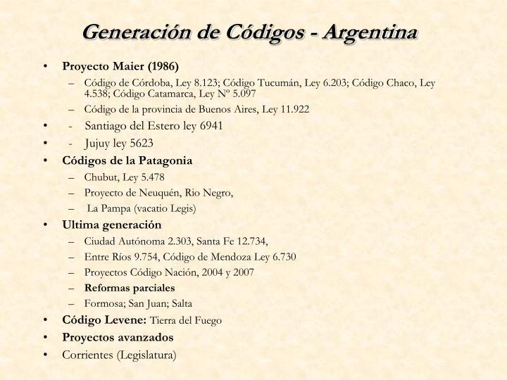 Generación de Códigos - Argentina