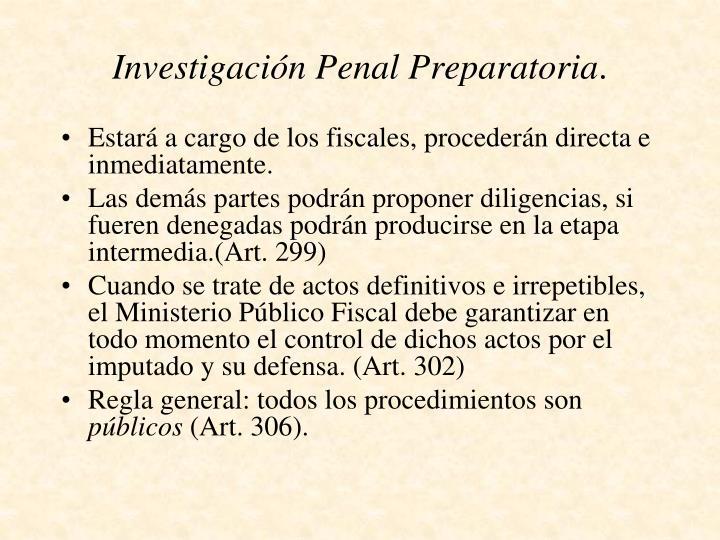 Investigación Penal Preparatoria