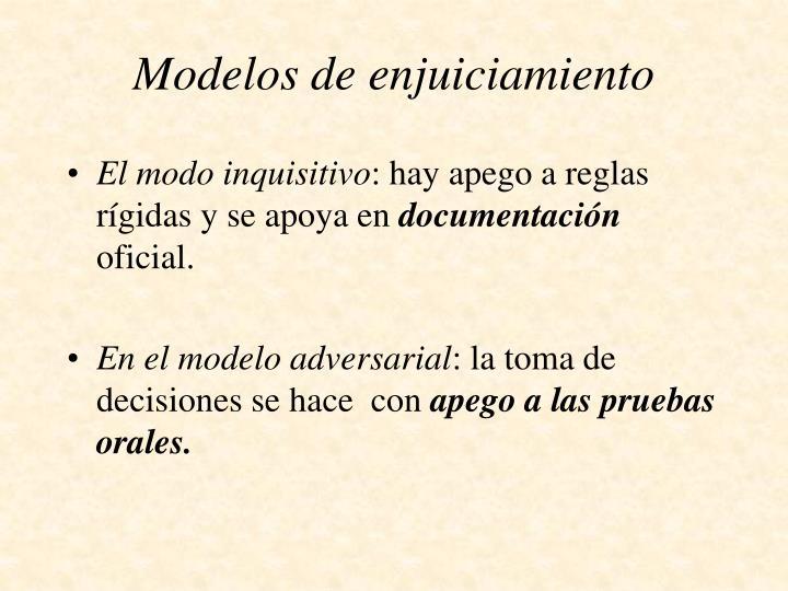 Modelos de enjuiciamiento1